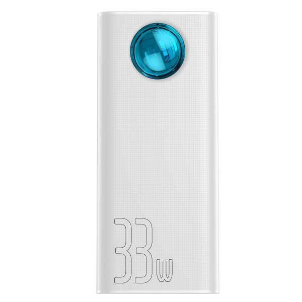 Baseus Amblight Quick Charge large power digital display power bank 33W PD3 0 QC3 0 30000mAh White 17678 1