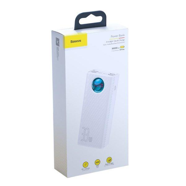 Baseus Amblight Quick Charge large power digital display power bank 33W PD3 0 QC3 0 30000mAh White 17678 8