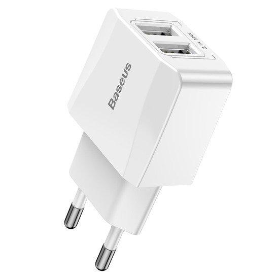 Baseus Mini Charger 2x USB White 15539 2