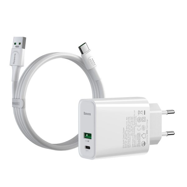 Baseus Speed PPS Quick Charger C A 30W EU VOOC Edition With 1m 5A U C Flash Cable White 18448 1