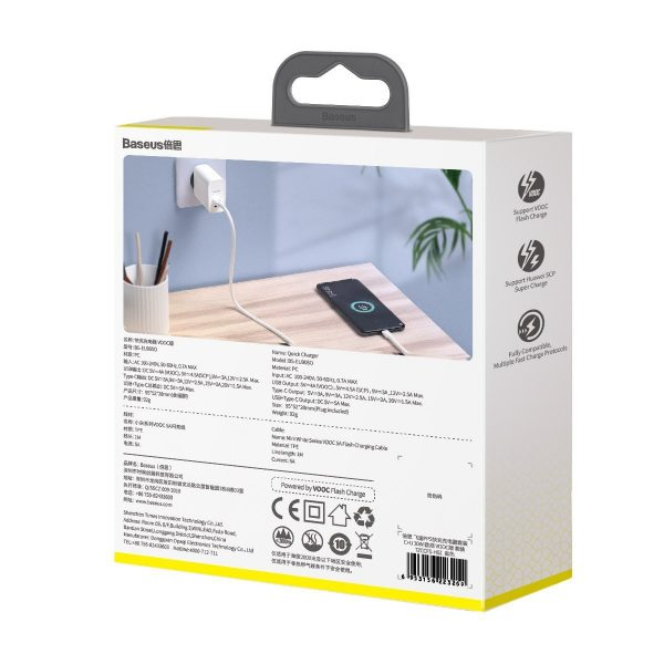 Baseus Speed PPS Quick Charger C A 30W EU VOOC Edition With 1m 5A U C Flash Cable White 18448 3