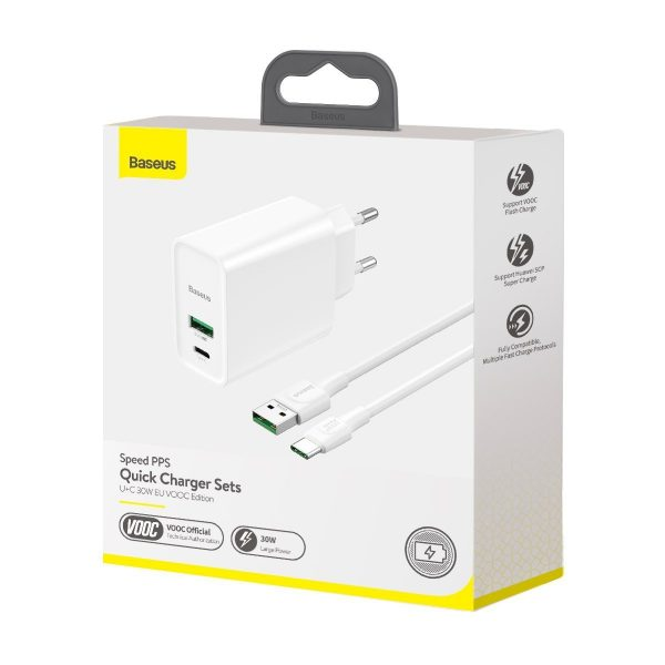 Baseus Speed PPS Quick Charger C A 30W EU VOOC Edition With 1m 5A U C Flash Cable White 18448 4