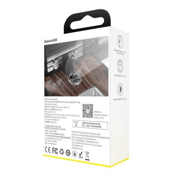 Baseus Tiny Star Mini Quick Charge Car Charger USB Port 30W Grey 16850 10
